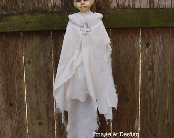 Art Doll - Tattered Ghost Doll by Ugly Shyla - Ghostly - Gothic - ready to hang - ooak - Ugly Art  Dolls - Handmade Doll