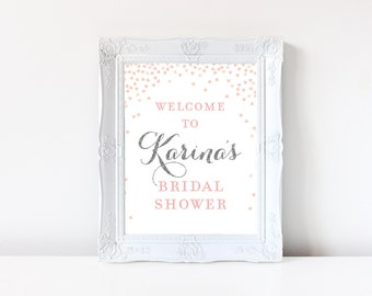 Bridal Shower Welcome Sign Printable . Pink and Silver Glitter Bridal Shower Printable Signs . Welcome to Bridal Shower Digital Download