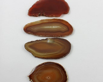 Brazilian Agate Slabs Natural Rust Brown Gold Set of 4 - BA16