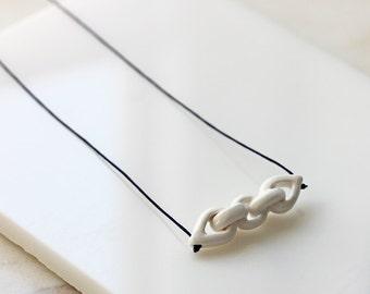 Handmade porcelain chain, long white pendant necklace