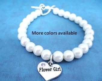 Flower Girl Pearl & Charm Bracelet-Flower Girl gifts-Flower Girl jewelry-Flower Girl-Bridal Party gifts-Wedding Party jewelry-Weddings, B352