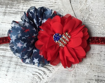 4th of July Headband. Navy, Silver and Red Stars. Baby's First 4th of July. 4th of July clip or hard headband.