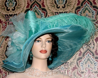 Light Aqua Kentucky Derby Hat, Ascot Hat, Edwardian Tea Party Hat, Titanic Hat, Somewhere in Time Hat, One of a Kind - Lazy River