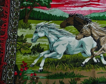 Vintage rug throw wall hanging with fringe - Three horses running - red, green, brown