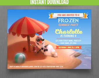 Disney Frozen Summer Olaf Birthday Invitation - Instant Download and Edit with Adobe Reader