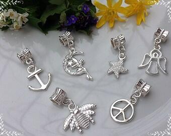 6 pcs of pendants,  Pandora Style, Set of pendants, Silver color, Silver pendants, Handmade pendants, Bright pendants