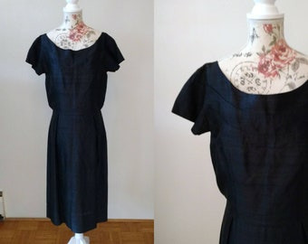 vintage 1950s silk little black dress/ wiggle dress