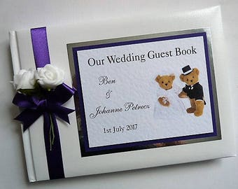 Personalised Teddy Wedding Guest Book / Scrapbook - any design