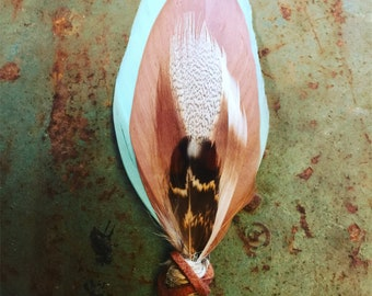 FREE SHIPPING- Wild Pony Feather Grooms Boutonniere