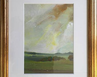 The golden morning came and swept the night away -original oil painting - framed -by Sarah Gill - dawn over the Derbyshire Dales