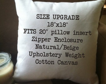 "SIZE UPGRADE 18"" decorative throw pillow cover, natural cotton with zipper"