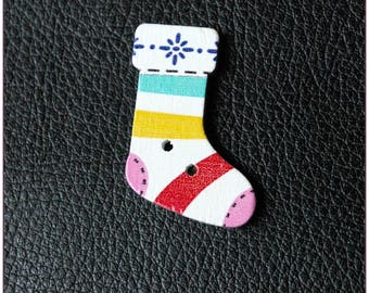 Christmas socks pattern wooden buttons 03 x 1
