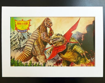 Japanese Monster KAIJU vintage print from 1960s, Gabora and Red King part of the Godzilla series