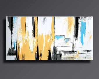ABSTRACT PAINTING Yellow Gray White Black Blue Painting Original Canvas Art Contemporary Abstract Modern Art 48x24 wall decor #AB19i13