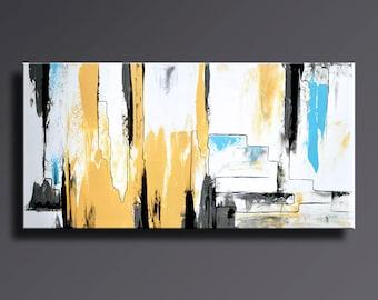 PINTURA abstracta amarillo gris blanco negro azul pintura Original lienzo arte contemporáneo moderno arte abstracto decoración de pared de 48 x 24 #AB19i13
