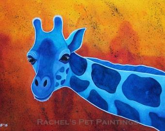 Blue Giraffe Painting Watercolor Giraffe Art Print African Wildlife Painting African Animal Art Watercolor Art Print Watercolor Painting