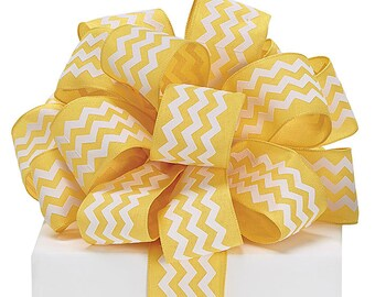 "5YDS x 1-1/2"" Yellow & White ZIG ZAG Chevron Print Lines Wired Edge Fabric Ribbon"