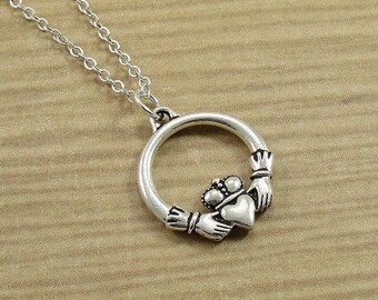 Irish Claddagh Necklace, Silver Claddagh Charm on a Silver Cable Chain