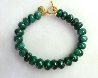 Luxe Very Large Emerald and 14k gold fill Focal Bracelet...