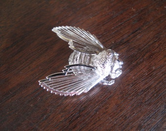 Bee Brooch, Wire Wing, Silver Toned, Monet Brooch, Insect, Beekeeper