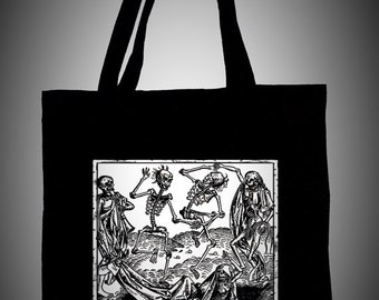 Black cotton tote bag with medieval illustration DANSE MACABRE, white ecological ink