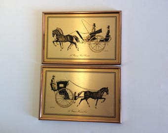 Vintage Horse Picture, Horse and Carriage, Horse Art, Equestrian Art, Victorian Carriage, Horse Lover Gift, Equine Art, Brass Horse Frame.