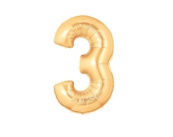 GIANT NUMBER 3 BALLOON - Giant Number 3 Copper Rose Gold Foil Balloon (40 inches / 102cm)