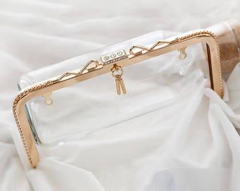 23.5cm Width Cute Elegant Rhinestone Beaded Light Golden Square Kisslock Bag Purse Frame