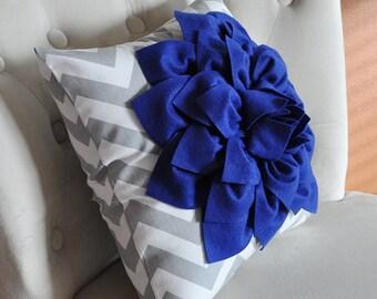Royal Blue Dahlia on Gray and White Zigzag Pillow -Chevron Pillow-