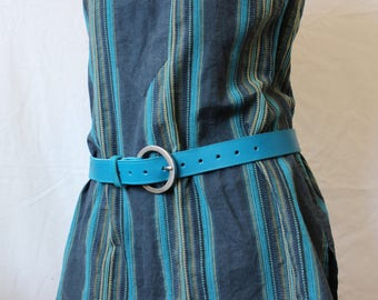 blue leather belt. women belt. blue leather belt; women leather belt. (ET.20)