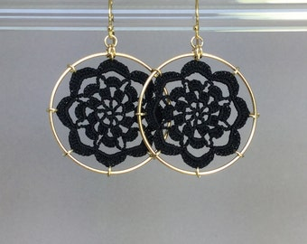 Serendipity doily earrings, black silk thread, 14K gold-filled