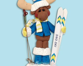 Mortimer Moose Skier HANDMADE Polymer Clay Personalized Christmas Ornament - Limited Edition