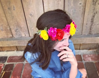 Mommy and Me Flower Crowns Fiesta, Baby Shower, Maternity Photo Newborn Photo, Floral crown, Mother's Day, Matching Mother Daughter, Luau