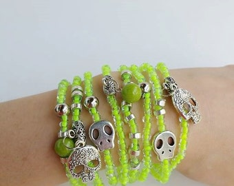 Neon jewelry , stackable bracelets , layering bracelets , beaded bracelets , friendship bracelets , skull jewelry , skull beads - stretch