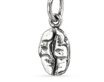Charms, Coffee Bean, Sterling Silver, 14.75x5.6mm - 1 Pc Wholesale Price (12033)/1