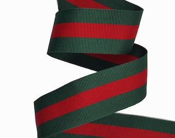 100 yard Green Red Striped Ribbon Trim, Double Faced Gross grain Gucci Trim