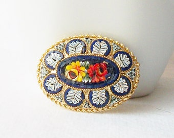 Vintage Micro Mosaic Glass Brooch, Mosaic Vintage Brooch, Vintage Italian Mosaic Brooch Pin, Something Old Something Blue