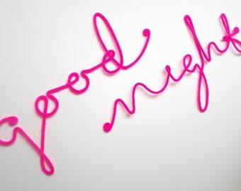 "Soft Neon Sign ""good night"" crochet cursive wire wall word"