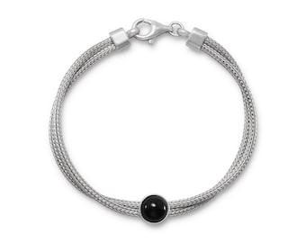 Rhodium Plated Double Mesh Strand and Black Onyx Bracelet