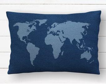 Map Pillow Cover, Travel Decor, Bedroom Decorative Pillows, Wanderlust Nursery, Adventure Kids Room, World Map Accent Pillow, Travel Room