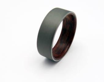 Mens wood ring  Bubinga wood and  blasted Titanium Handmade wedding band
