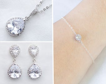 Necklace and Bracelet Set, Crystal Jewelry set