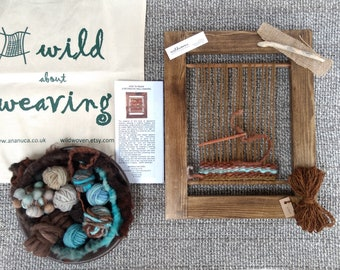 Weaving Loom Kit (L), Woven Wallhanging, Learn to Weave, Tapestry, Craft Kit, Beginners Weaving, Weaving Needle, Blue, Fairtrade Cotton Tote