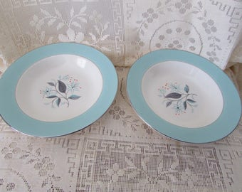 VINTAGE 2 Turquoise soup bowls and gold trim white / VINTAGE 2 Soup Bowl VTG 2 bowls soup bowl replacement dish for Decoration