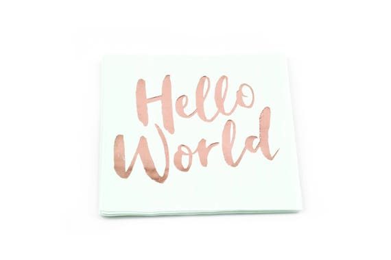 8pc Hello World Napkin, Luncheon Rose Gold and Mint, Rose Gold Baby Shower Napkin, Gender Neutral Baby Shower, Girls Mint Green, Green