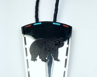 Vintage Native American Zuni handmade Sterling Silver inlay Turquoise Onyx Coral stone bear bolo tie