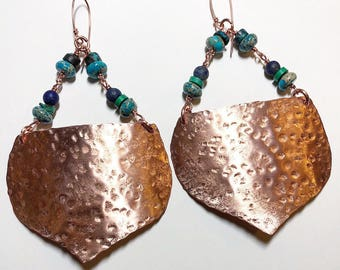 Huge turquoise accented hammered copper Eargear