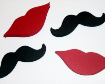 Mustache and Lip Die Cut, Mustaches Lips Gender Reveal #100 pieces