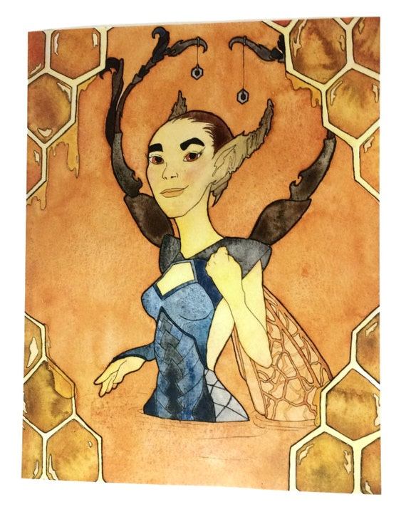 Watercolor Fantasy Wall Art Honeybee Wall Decor Feminist Art