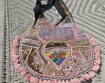 Embroidered, Indian, beaded, hand worked fabric bag